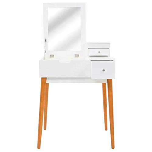 QWSX Simple design Modern makeup vanities cabinet with mirror for the bedroom makeup table white desk of girl furniture makeup dresser simple design (Color : White and brown)