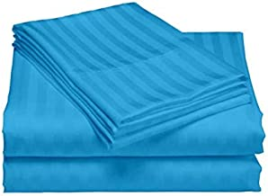 """AVI Super Classic 300 TC Sateen Striped Cotton Bed Sheet with 2 Standard Size Pillow Cover, Turquoise Blue (100""""X108"""")"""