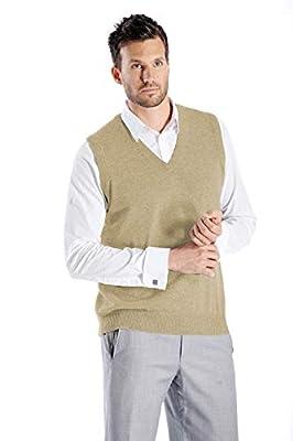 Cashmere Boutique: Men's 100% Pure Cashmere Vest Sweater (Color: Camel Brown, Size: Small) by