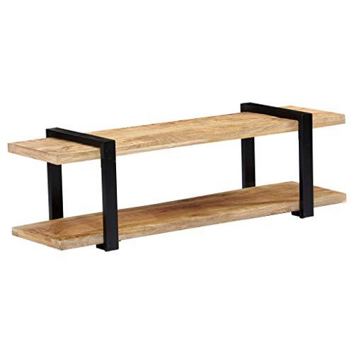 vidaXL Mangoholz Massivholz TV Schrank mit Ablage Sideboard Lowboard Fernsehschrank Fernsehtisch Board HiFi Regal Tisch Möbel 130x40x40 cm