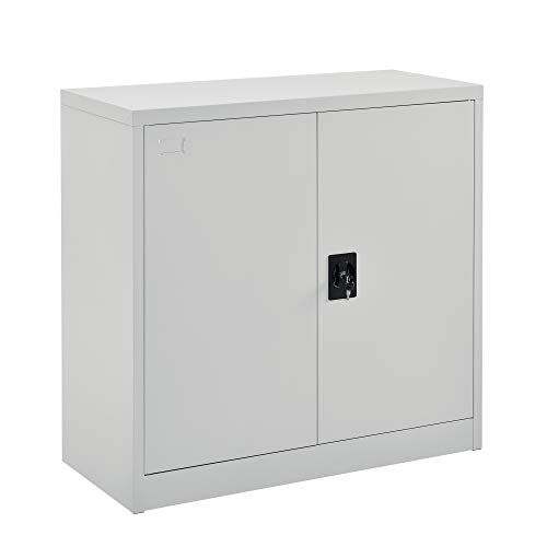[en.casa] Armario de Oficina 90 x 40 x 90 cm Archivador con Cerradura y 2 Puertas 2 Estantes para Almacenar Organizador Gris Claro