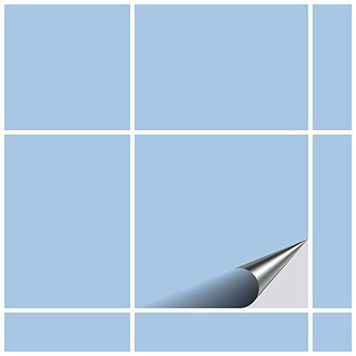 FoLIESEN Fliesenaufkleber 15x15 cm - Fliesen-Folie Bad - Klebefolie Küche - 50 Klebefliesen, Pastellblau matt
