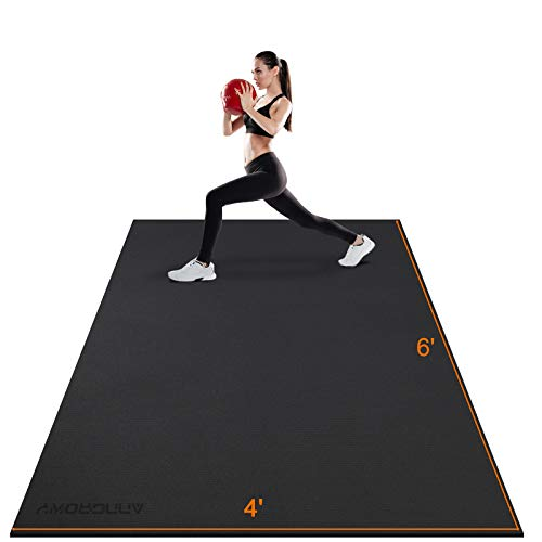 Large Exercise Mat 6'x4'x7mm Workout Mat for Home Gym Mats Exercise Equipment Gym Flooring Rubber Fitness Mat Thick Yoga Mat for Weightlifting, Cardio, Jump Rope, MMA, Treadmill, Pilates, Non-Slip