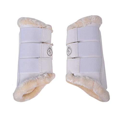 Kingsland Kunstleder - Gamaschen KL_BARELS Vorderbeine, 2er-Pack Boots Farbe weiß, Größe Warmblut