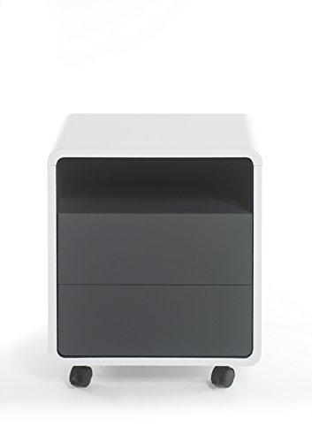 Robas Lund Tadeo Caisson de Bureau, MDF, Blanc/Anthracite, 38 x 47 x 55 cm