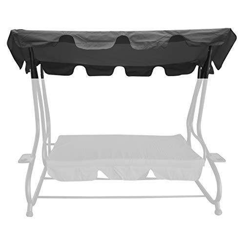 bonsport Ersatzdach für Hollywoodschaukel mit Volant - Dach Sonnendach für 2-Sitzer und 3-Sitzer, grau
