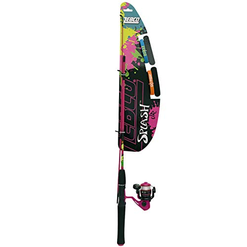 Zebco Splash Jr. Kids Spinning Reel and Fishing Rod Combo, 4-Foot 2-Piece Medium-Light Rod,...
