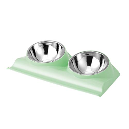 Dressyougo Double Slanted Dog Bowl, Tilted Food Water Bowl for French Bulldog and Cats, Easier to Access Food Light Green