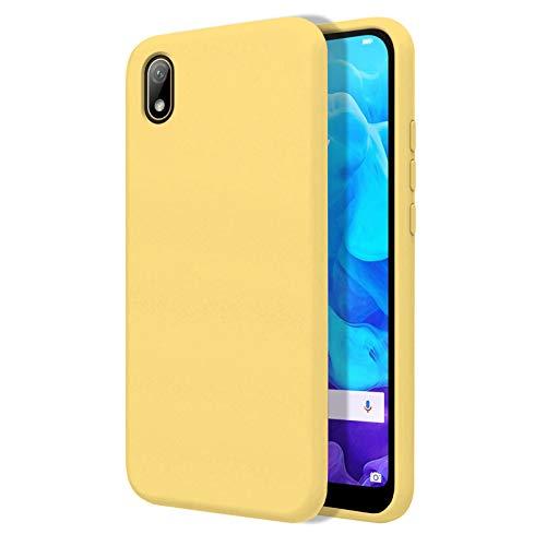 TBOC Funda para Huawei Y5 2019 [5.71 Pulgadas]- Carcasa Rígida [Amarilla] Silicona Líquida Premium [Tacto Suave] Forro Interior Microfibra [Protege la Cámara] Antideslizante Resistente Sucieda