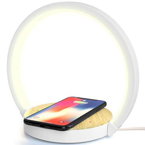 ELEHOT Cargador Inalámbrico QI con Lámpara de Escritorio Mesita de Noche con Cargador Inalámbrico Rápido 3 niveles Brillos Control Táctil