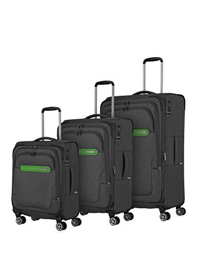 Travelite travelite: Madeira – sehr leichte Trolleys, Trolley-Taschen, Reise- und Bordtaschen plus Weekender Koffer-Set, 77 cm, 183 Liter, Anthrazit/Grün