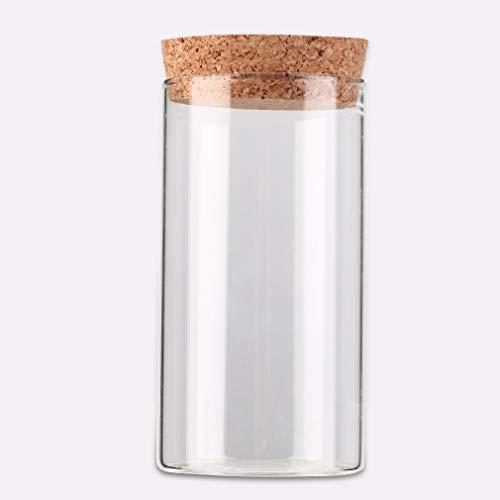 JFH Botella de vidrio transparente de 350 ml con granos de corcho sellados de hojas de té, contenedor de almacenamiento transparente
