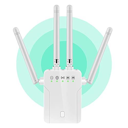 YOMERA Ripetitore WiFi Wireless, Dualband 5GHz 2,4GHz Range Extender WiFi Estensore WiFi 4 Antenne, Amplificatore Segnale WiFi, Ripetitore Segnale WiFi Casa con Router/AP/WPS