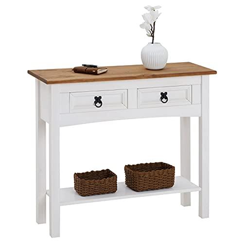 IDIMEX Table Console Campo Table dappoint rectangulaire en pin Massif Blanc et Brun avec 2 tiroirs et 1 étagère, Meuble dentrée Style Mexicain en Bois dim 88 x 73 x 32 cm