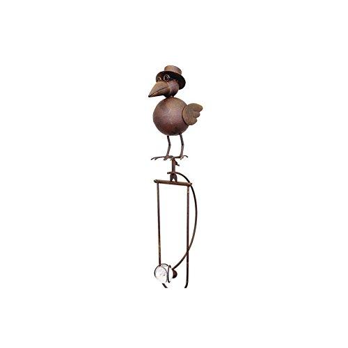 L'Héritier Du Temps Mobile de Jardin à Balancier à Planter ou Tuteur pour Plantes Motifs Corbeau en Fer et Verre Patiné Marron 14x25x153cm