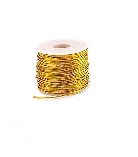 Elastic Cords Stretch Cord Ribbon Metallic Tinsel Cord Rope for Craft Making Gift Wrapping 1 mm 20 Yards (Gold)