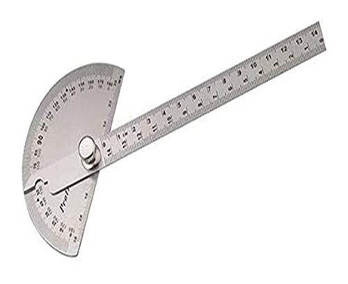 DWhui Multi-Funktions-Protractor 15Cm Edelstahl runde Kopfwinkel Lineal zur Holz Index Messer Winkelmesser Platz Lineal Mathematische Messwerkzeug