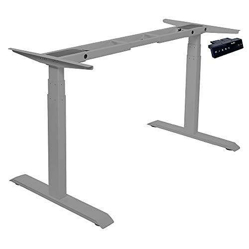 Kqueo - Escritorio para sentarse de pie eléctrico – K-Lift X3, 3 columnas, 2 motores, mesa regulable, altura 66-130 cm y panel de control con funciones de memoria, capacidad de carga 130 kg (gris)