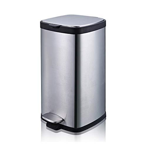 NYKK Sencilla de Gran Capacidad Bote de Basura Cubo de Basura de los hogares de Acero Inoxidable con Tapa Pedal Cubo de Basura de la Cocina, Oficina, hogar (Size : 30L)