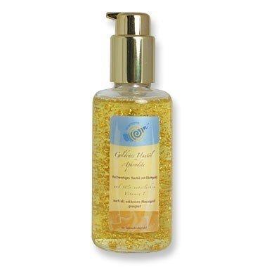 Gyllene ansiktsolja och exklusiv massageolja afrodite med bladguld och naturligt vitamin E