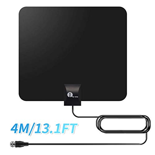 1byone DVB-T2/DVB-T kamerantenne Super Antenne DVB T2 HD kleine platte antenne voor binnen en buiten, digitale antenne voor tv, zonder kabel, raam/muur kamerantenne