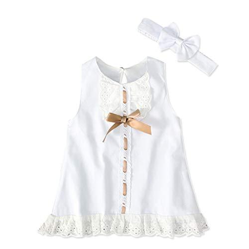 Mädchen Abendkleider Kleidung Set Prinzessin Ärmellos Kleid Runden Kragen Spitze Partykleid Outfits Set Bogen Haarband Anzug, Weiß, 3-6 Monate