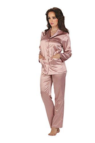 Forex Lingerie Elegante pigiama di raso in stile classico Rosa S