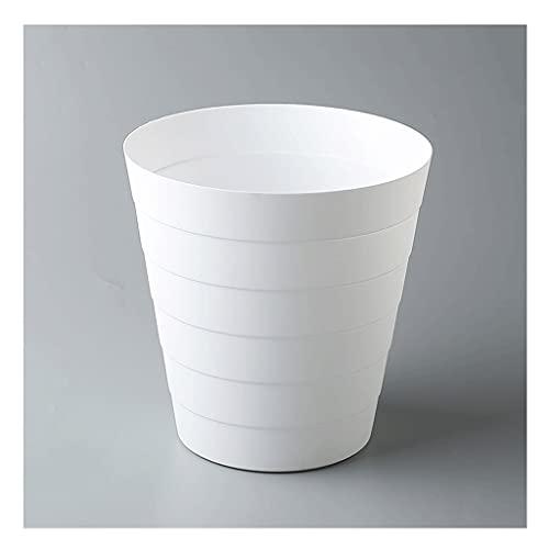 Cubo de Basura Papelera de Reciclaje de Papel de Basura de Basura de plástico Redondo Adecuado para Dormitorio en casa Dormitorio Universidad Blanca Papelera (Color : White, Size : Medium)