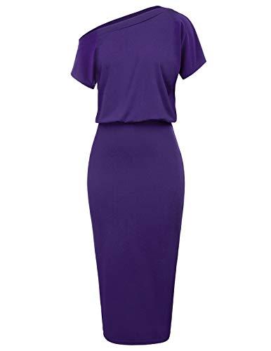 Women's Short Sleeve One Shoulder Pencil Dress Size L Purple CL037-5
