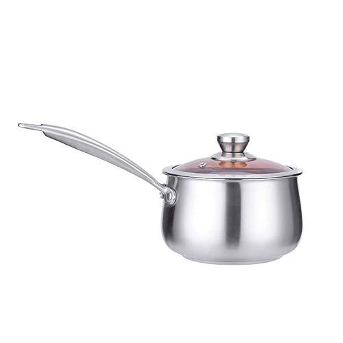 Feixunfan Milchkännchen Edelstahl-Milch Pfanne Mit Buttermilch Kaffee Ofen Warmer Mini Butter Multifunktionsmilchtopf Gewürztopf (Color : Silver, Size : 16CM)
