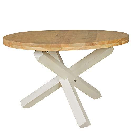 FineBuy Design Esszimmertisch rund Ø 120 cm x 75 cm Massiv-Holz | Landhaus Esstisch 4 Personen | Küchentisch Tisch für Esszimmer braun