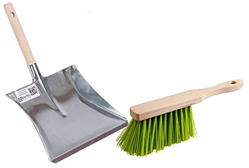 BawiTec Garten-Set Kehrset Schaufel Handfeger Elaston neon-grün Handbesen Kehrschaufel Kehrschaufelgarnitur Gartenbesen