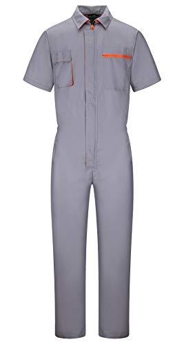 Yukirtiq Herren Kurzarm-Overall Schutz-Latzhose Arbeitskleidung Arbeitslatzhose Baumwolle Schutzanzug mit vielen Taschen, Grau/Königsblau (Grau, XXL)
