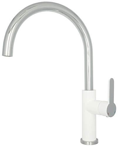 Wasserarmatur Küche Küchenarmatur Chrom Weiss Hohe Spültischarmatur Hochdruck schwenkbar mit Wassersparkartusche