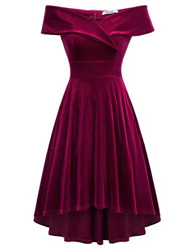 JASAMBAC Burgundy Off The Shoulder Dress for Women Velvet Wedding Guest Cocktail Dresses Wine Red XL