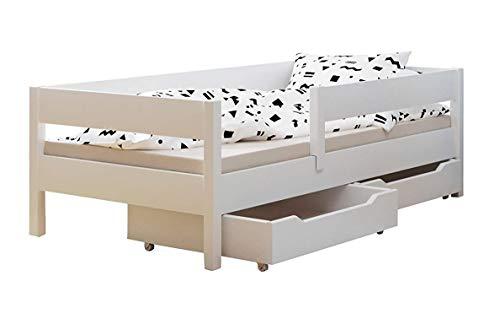 Kinder-Einzelbett mit Schubladen und Matratze, 4 Farben, viele verschiedene Größen (200 x 90 cm, weiß)