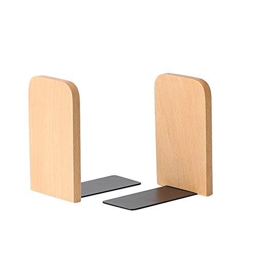 MOPOIN Sujetalibros de madera para estantes, extremos de libro de 2 piezas Sujetalibros de escritorio Soporte de libro antideslizante para el estudio escolar de la biblioteca de la oficina en casa