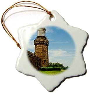 Emily Christmas Snowflake Hanging Ornament Lighthouses USA, New Jersey, Highlands, Twin Lights of Navesink, North Tower. Xmas Tree Decoration Ornament