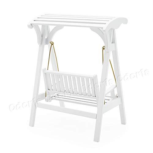 Odoria 1/12 Miniatur Gartenmöbel Hollywoodschaukel Gartenschaukel 2-Sitzer Holz Weiß Für Puppenhaus Möbel Zubehör - 2