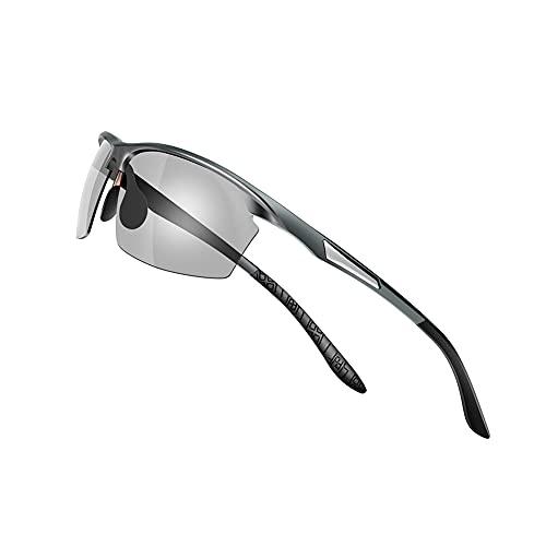 【Amazon限定ブランド】Laza-Vally スポーツサングラス メンズ 偏光サングラス UV400保護 AL-MG合金 超軽量 運転/自転車/釣り/野球/スキー/ランニング/ゴルフ用 「変色調光」