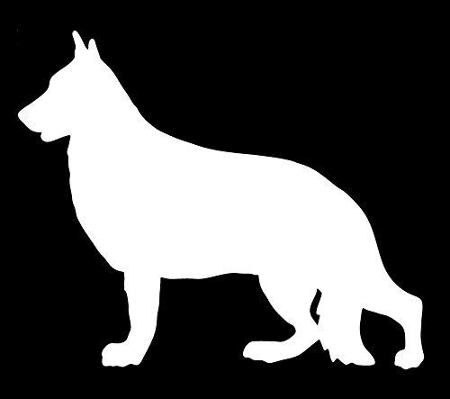 UR Impressions German Shepherd Standing Decal Vinyl Sticker Graphics Cars Trucks SUV Vans Walls Windows Laptop|White|5.5 X 5 Inch|URI047