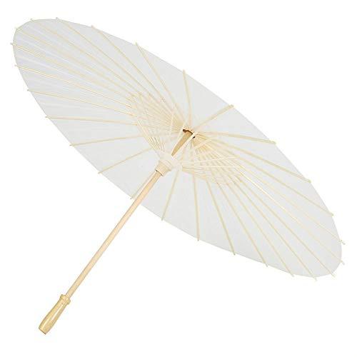 Hakeeta Papierregenschirme, White Paper Oiled Umbrella DIY Chinesische Kunst Klassischer Tanz Regenschirm Orientalischer Regenschirm Sonnenschirm mit Holzgriff für Hochzeit/Party Dekoration/Fotos.