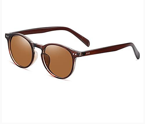 YUEXINHU Gafas De Sol Polarizantes, Gafas De Sol Retro Redondas, Gafas De Sol Masculinas Y Femeninas, Ojos Protectores Uv400 Té facial