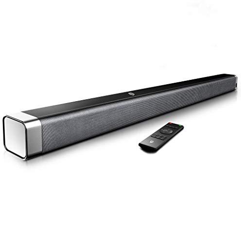 Bomaker Barra de Sonido 2.0 Canales, Potencia 120dB, Tecnología DSP Subwoofer Incorporado + Bluetooth para TV, Soporte Óptico, 3,5 mm Audio AUX, USB, Diseñado para Cine en Casa, ODINE I, Negro-Gris