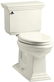 KOHLER K-3817-96 Memoirs Stately Comfort Height Two-Piece Elongated 1.28 GPF Toilet with AquaPiston Flush Technology and Left-Hand Trip Lever Biscuit