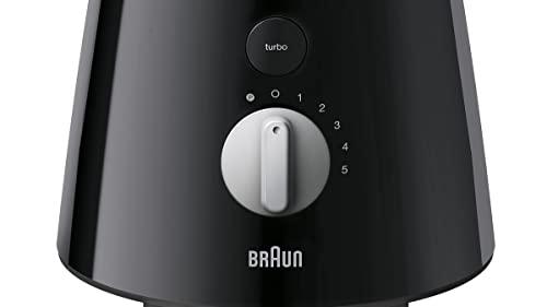Braun JB3060BK - Batidora de vaso, 800 w, 5 velocidades, cuchilla de acero inoxidable, jarra de 1.75 l thermoresist, negro