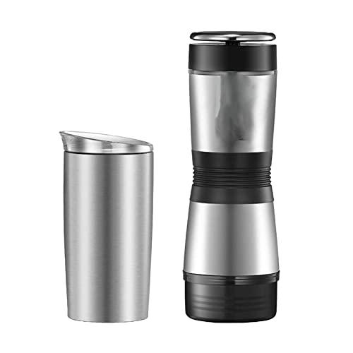 HYCy Cafetera portátil, máquina de café expreso con Taza de Viaje aislada, Manual, extracción rápida, Termo de Acero Inoxidable