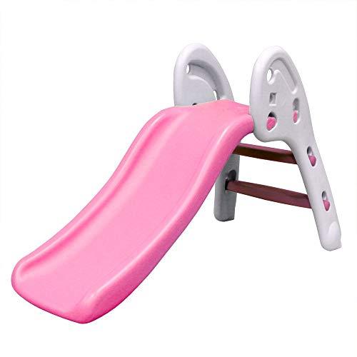 WEIMALL すべり台 室内 折りたたみ 耐荷重50kg 子供用 3才~6才 キッズ スライダー 滑り台 遊具 おもちゃ プレゼント ギフト (ピンク×ホワイト)