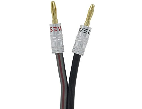 Silverback Speaker Wire by Sewell with Silverback Banana Plugs, 10 ft ,12 AWG, OFC, 259 Strand Count, Terminated