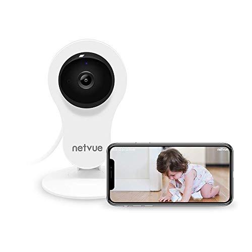 Netvue Caméra Surveillance WiFi Interieur, FHD 1080P Caméra de Sécurité avec Détection de Humain Mouvement, Zoom 8X, Vision Nocturne, Audio Bidirectionnel, Caméra bébé Surveillance Compatible Alexa